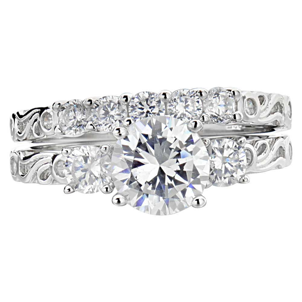 Bridal Sets: Cubic Zirconia Bridal Sets In White Gold