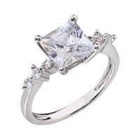14k White Gold Plated Women Wedding Band Princess Cut CZ ...