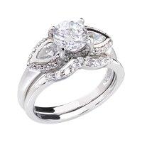 Cubic Zirconia Platinum Tone Three Stone Women Engagement ...