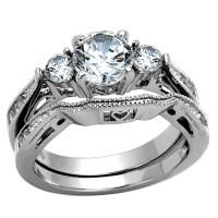 Round Cut Women's Stainless Steel Wedding Ring Set Cubic ...