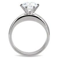 1.28 Ct Silver Stainless Steel Round CZ Women's Wedding ...