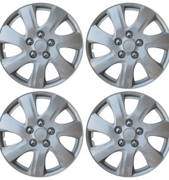 new set of 4 hub caps fits toyota camry 15 universal abs silver wheel cover cap [ 1599 x 1600 Pixel ]