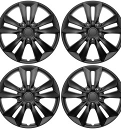 4 pc set hub cap abs black matte 16 inch for oem steel wheel cover caps covers [ 1600 x 1600 Pixel ]