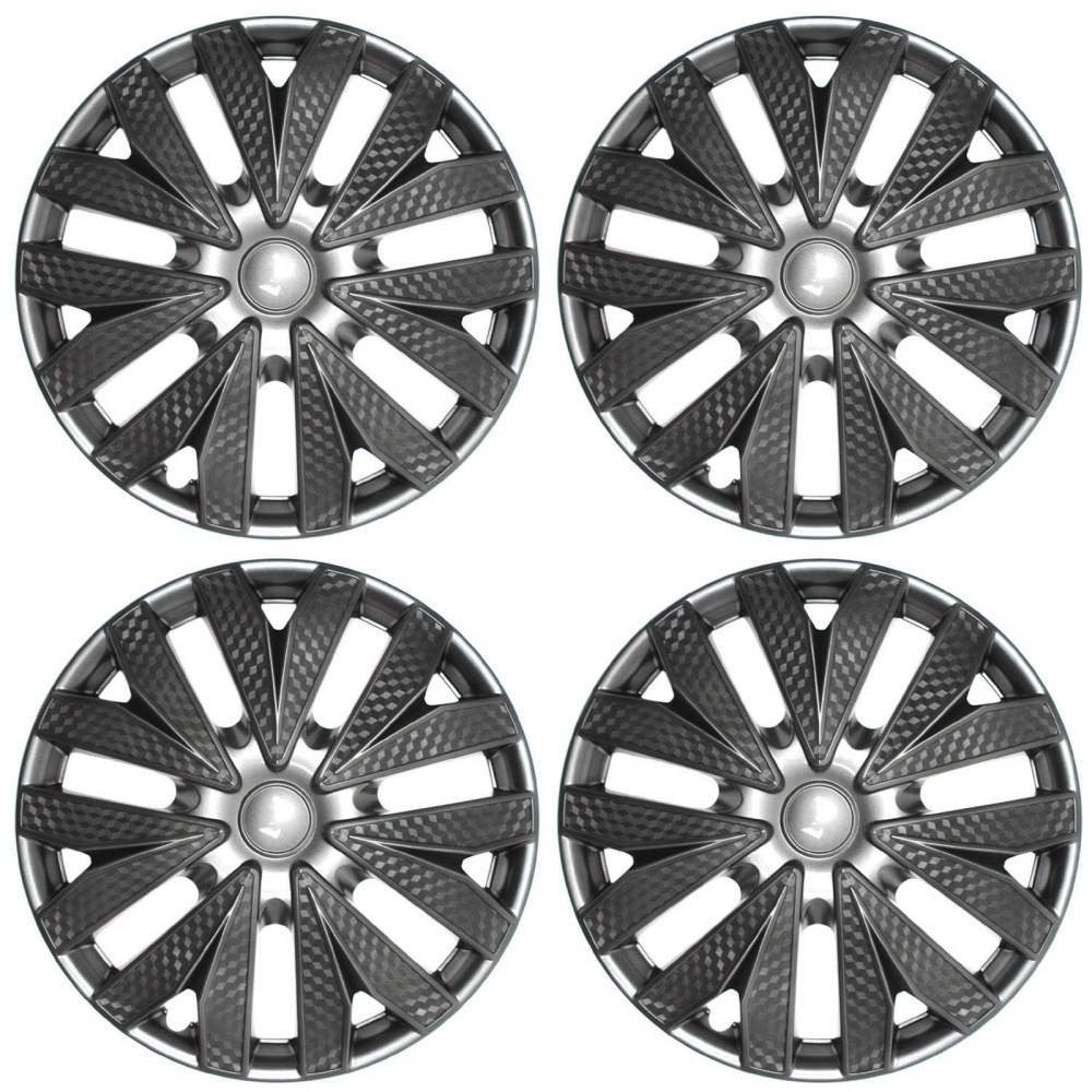 medium resolution of 4pc hub cap carbon fiber gray gunmetal charcoal silver 15 wheel cover caps