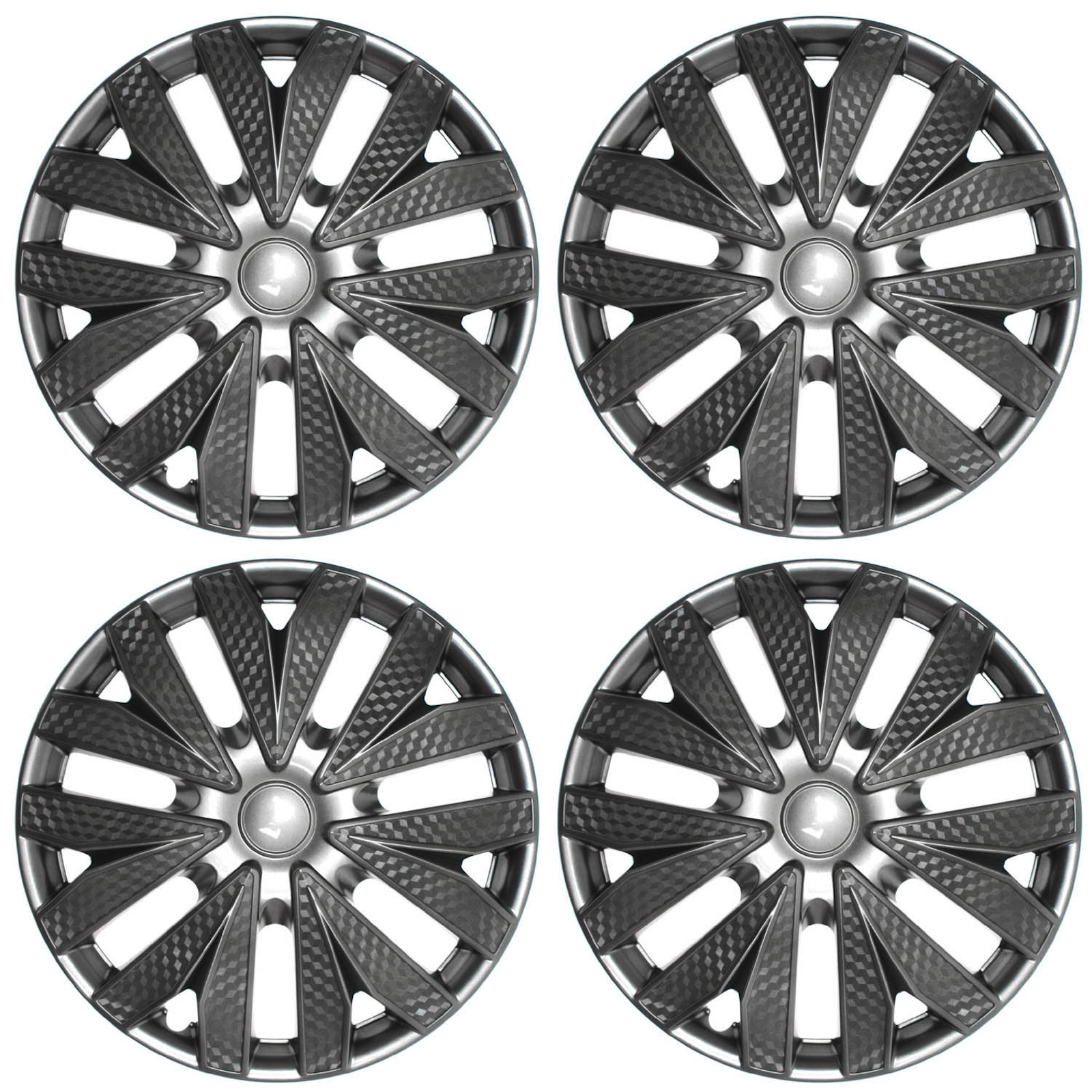 hight resolution of 4pc hub cap carbon fiber gray gunmetal charcoal silver 15 wheel cover caps