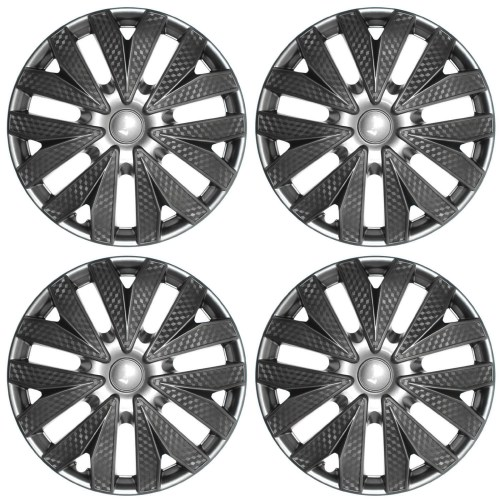 small resolution of 4pc hub cap carbon fiber gray gunmetal charcoal silver 15 wheel cover caps