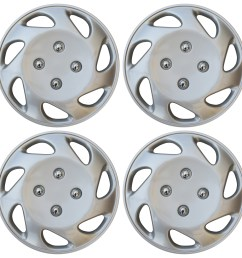 4 pc universal hub cap abs silver 14 inch rim wheel cover caps fits honda civic [ 1600 x 1598 Pixel ]