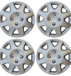4 piece set 14 inch hub cap silver skin rim cover for steel wheel covers caps [ 1600 x 1598 Pixel ]