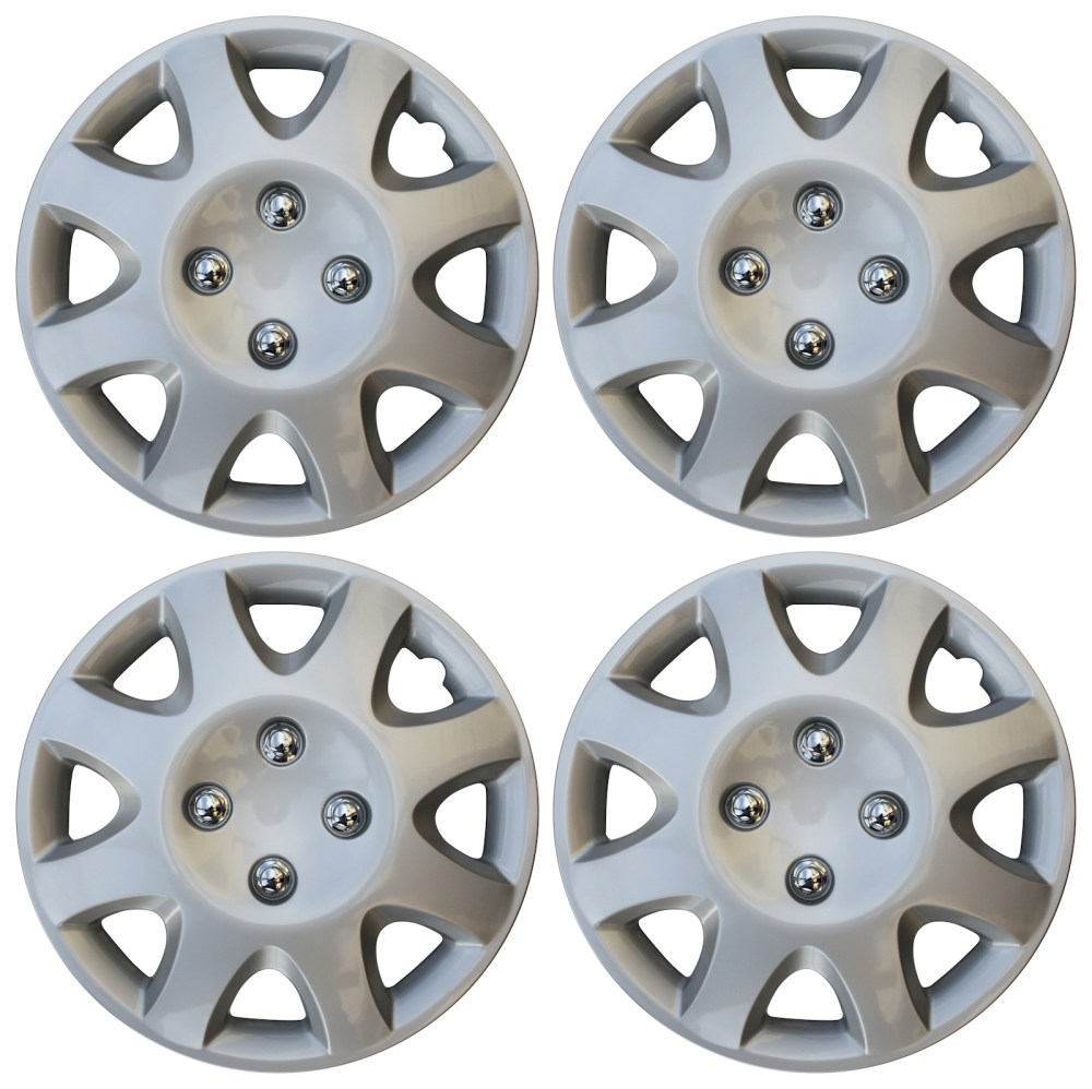 medium resolution of 4 piece set 14 inch hub cap silver skin rim cover for steel wheel covers caps