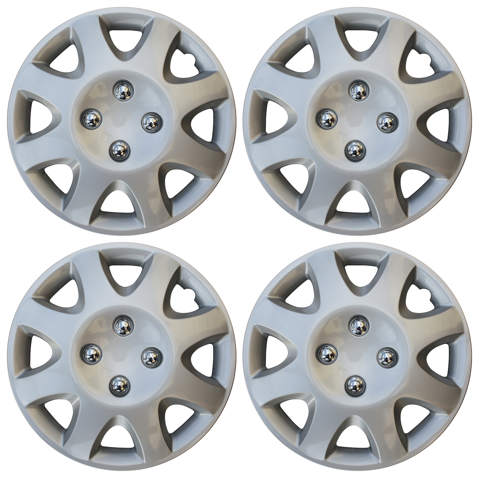 hight resolution of 4 piece set 14 inch hub cap silver skin rim cover for steel wheel covers caps