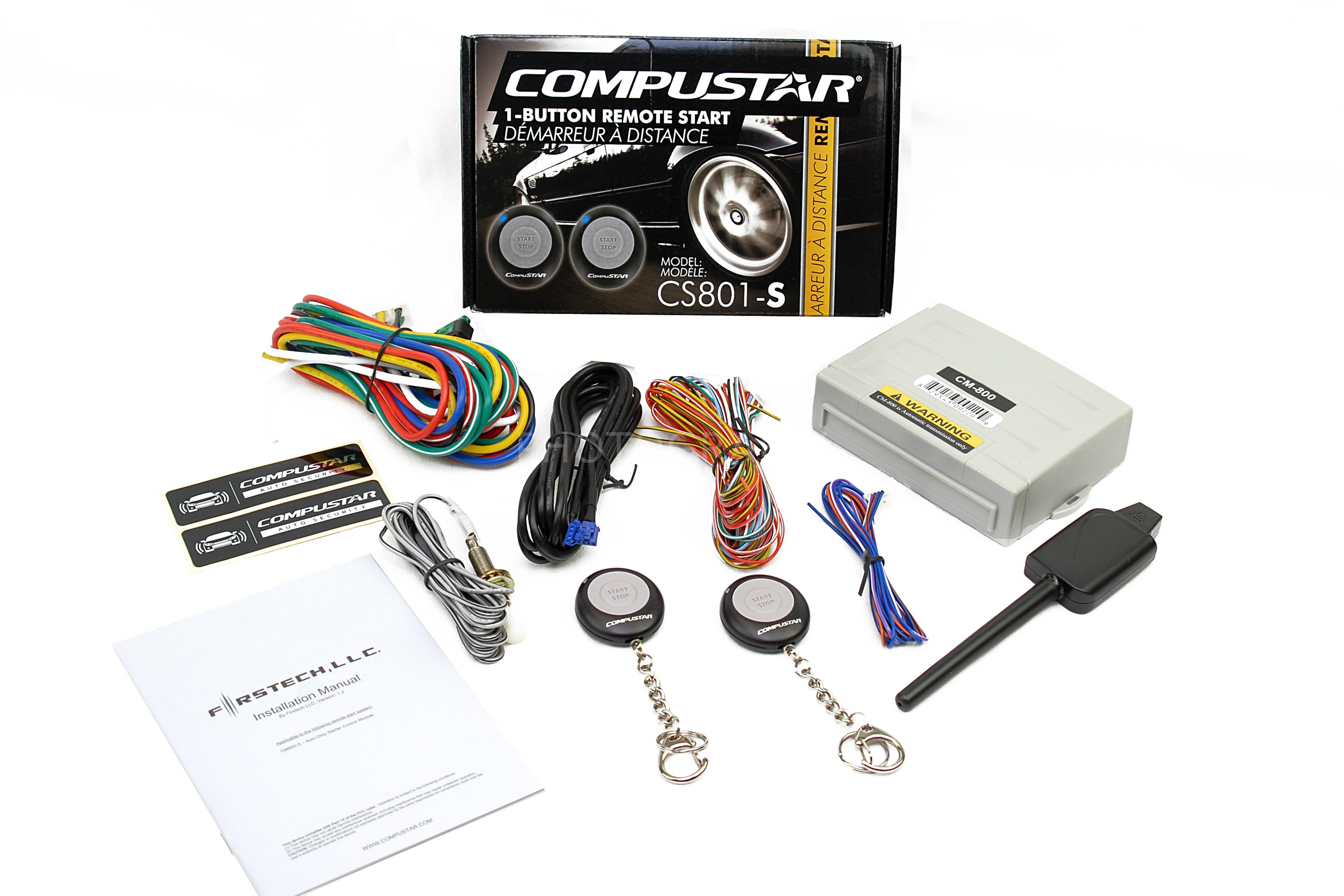 car alarm remote start installation wiring diagram cd 2005 jeep liberty engine compustar cs801 s 1 button auto starter