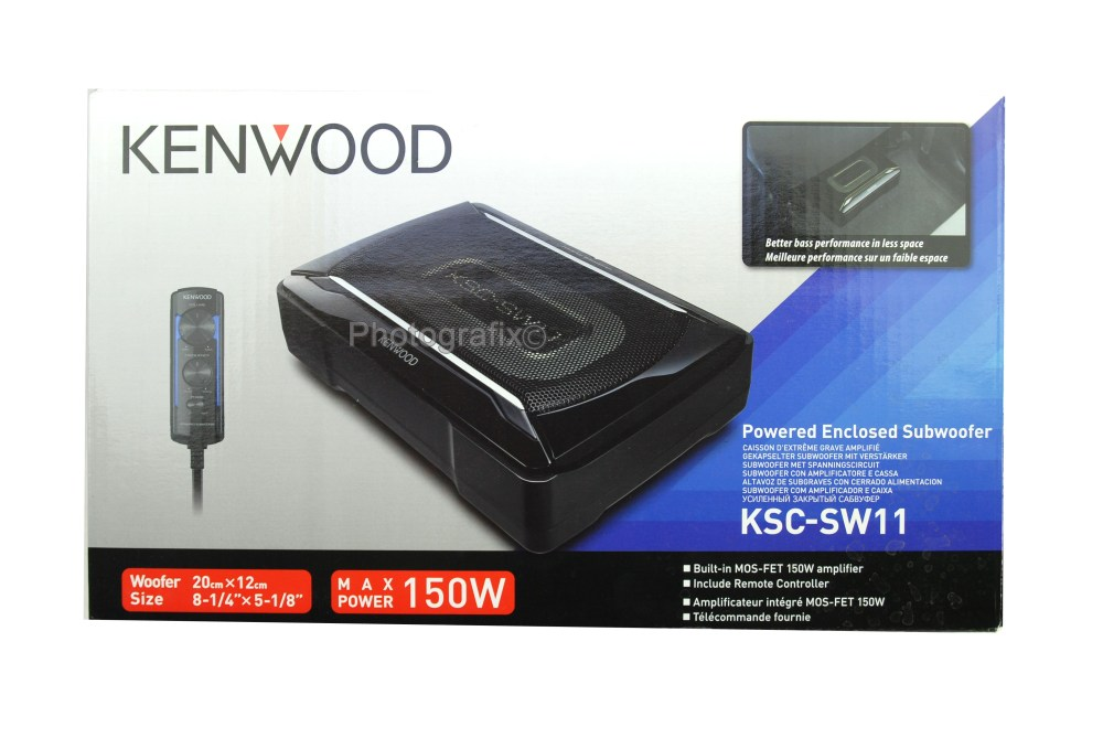 medium resolution of kenwood ksc sw11 150w compact powered subwoofer w bass remote kscsw11