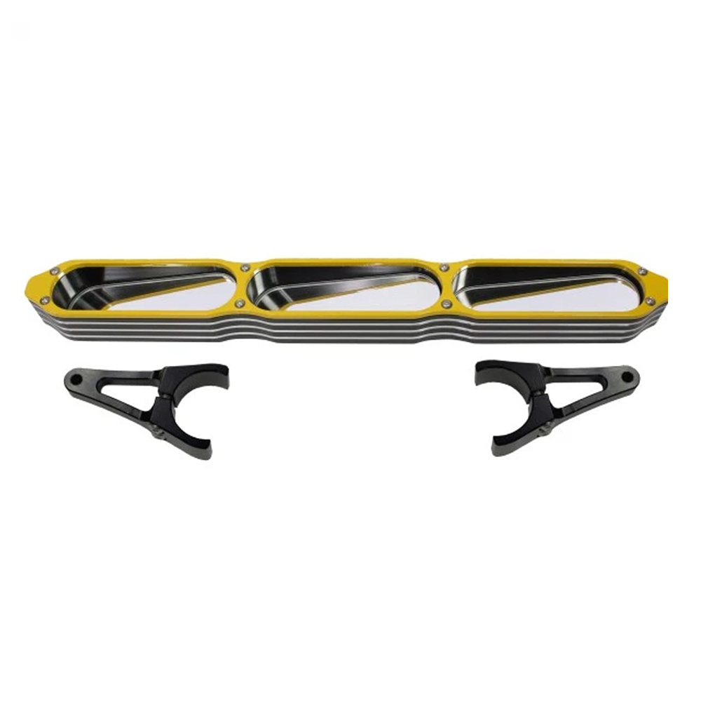hight resolution of billet aluminum 3 panel rear view mirror with yellow bezel 1 3
