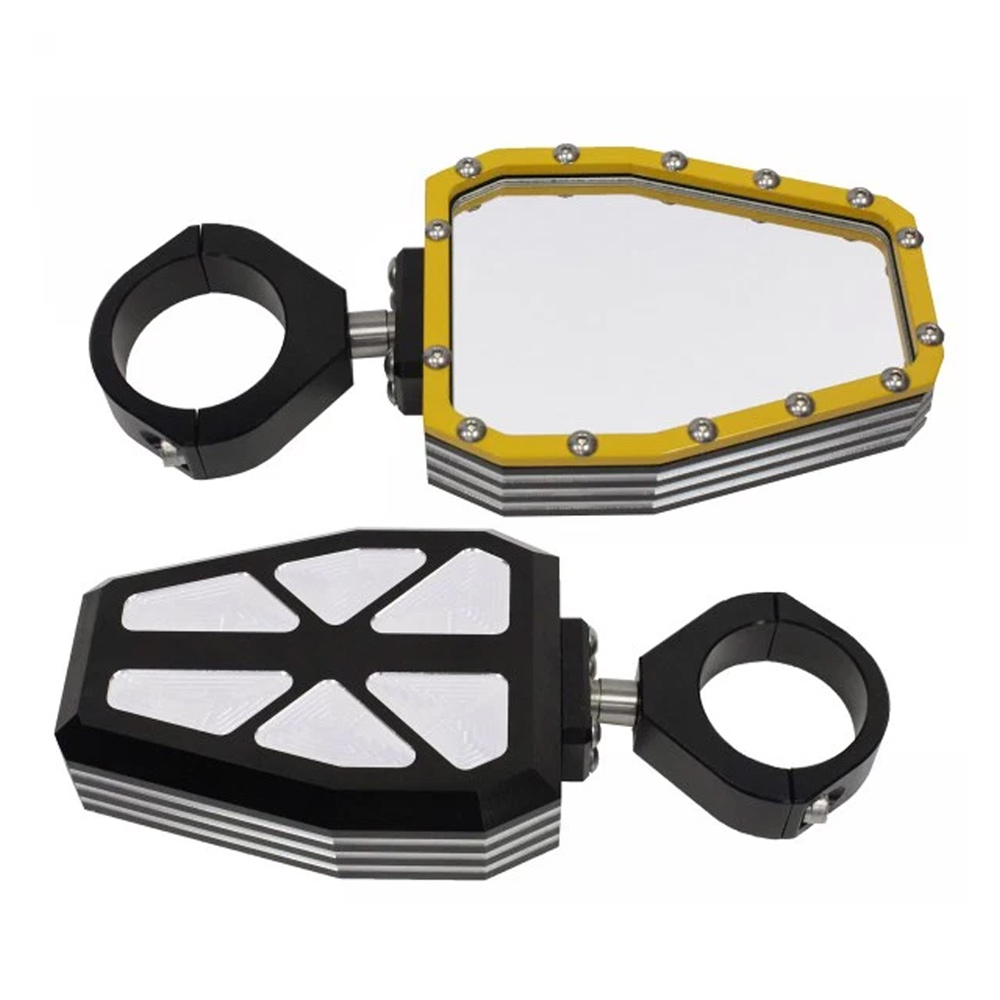 hight resolution of billet aluminum side mirrors with yellow bezel 1 3 4