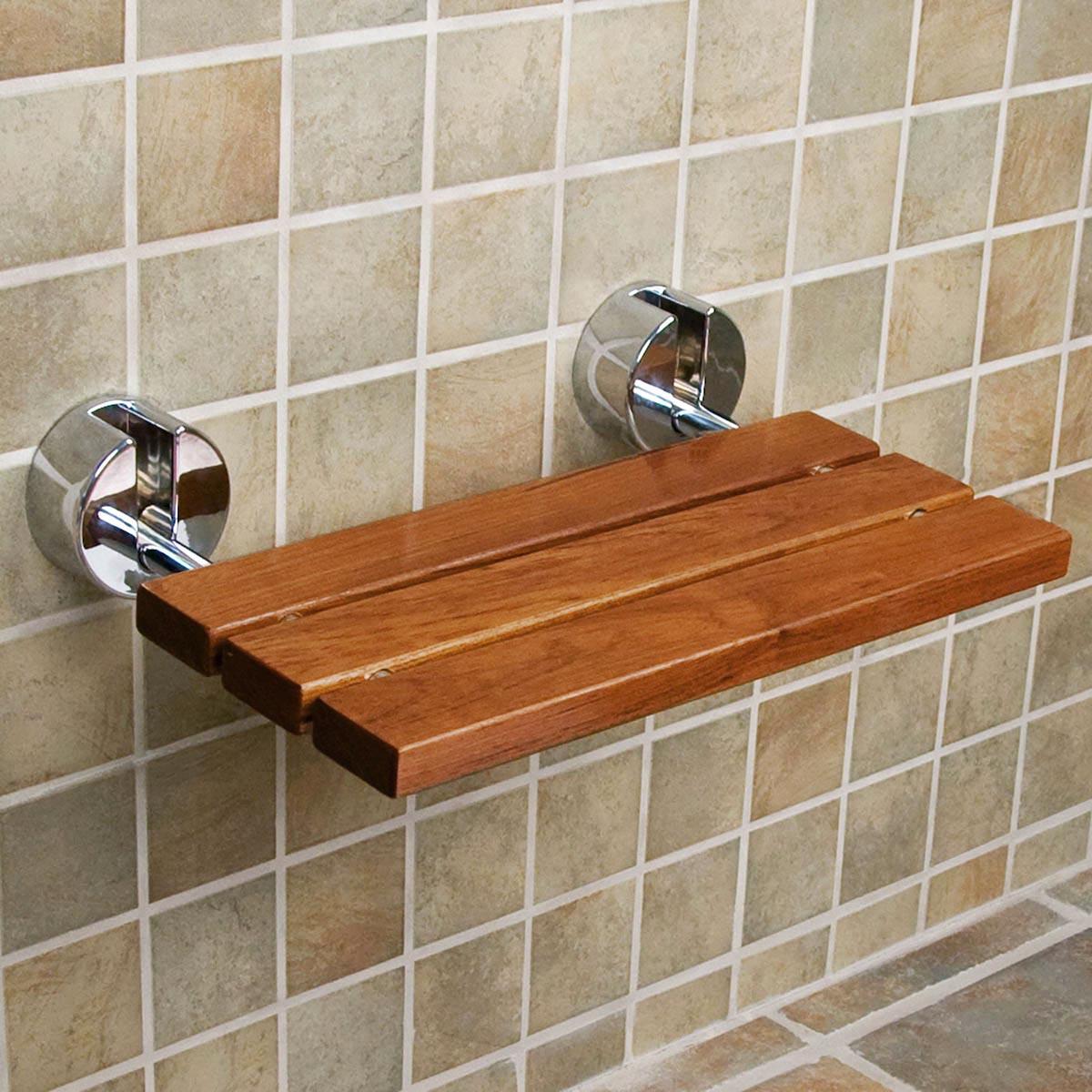 Clevr 20 Teak Modern Folding Shower Seat Bench Dark Wood