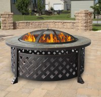 "Outdoor 34"" Firepit Fireplace Deck Fire Pit Heater Metal ..."