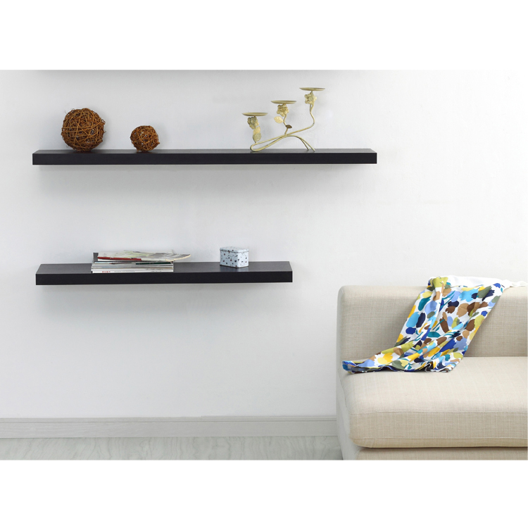 Venice Floating Wall Shelf Black 1 Piece Sizes 12quot 24