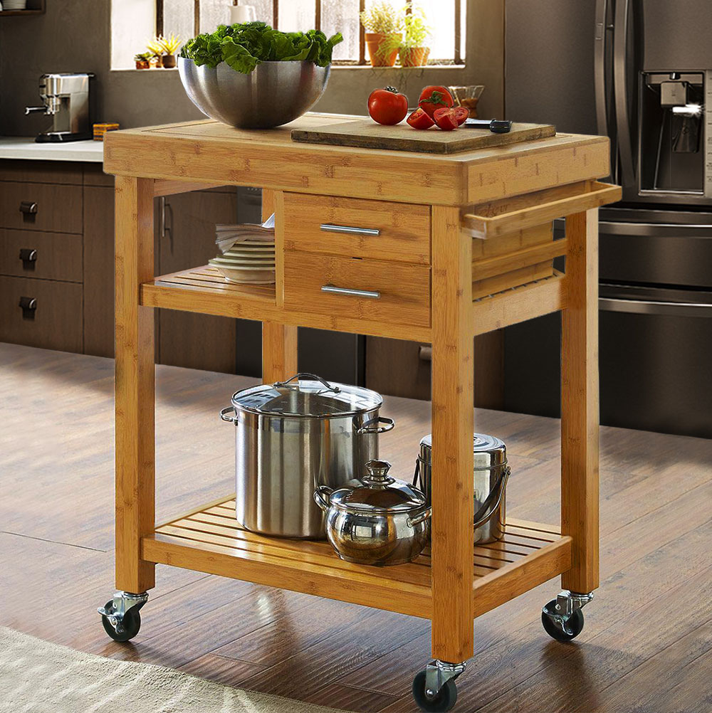 Rolling Bamboo Kitchen Island Cart Trolley Cabinet w