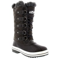 Womens Quilted Rain Lace Up Fur Lined Warm Shoes Duck ...