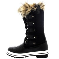 Womens Fur Cuff Lace Up Rubber Sole Tall Winter Snow Rain ...