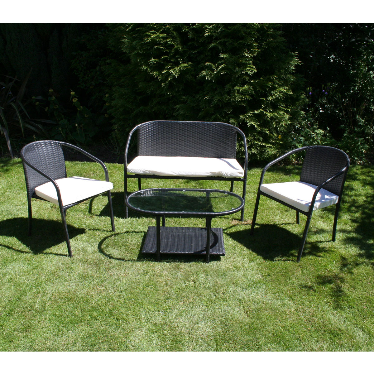 rattan 4 piece sofa set black mcguire charles bentley outdoor patio
