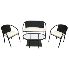 Rattan 4 Piece Sofa Set Black L Design Charles Bentley Outdoor Patio