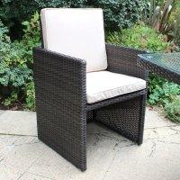 Charles Bentley Wicker Rattan 5 Piece Cube Furniture Set ...