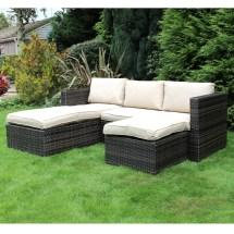 Charles Bentley Garden L-shaped Rattan Corner Sofa Outdoor