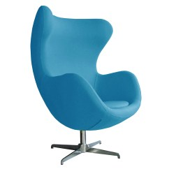 Blue Egg Chair Gray Dining Retro Arne Jacobsen Inspired Designer Swivel Wool