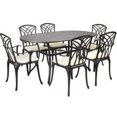 Metal Garden Table Chairs Chair Covers And Tablecloths For Hire Cast Aluminium 7 Piece Furniture Patio