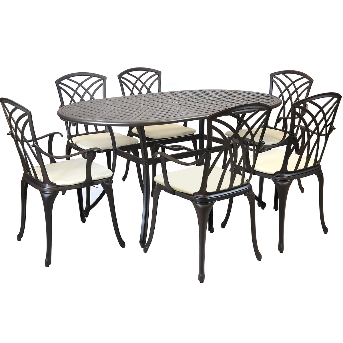 Garden Table And Chairs Metal Cast Aluminium 7 Piece Garden Furniture Table Patio