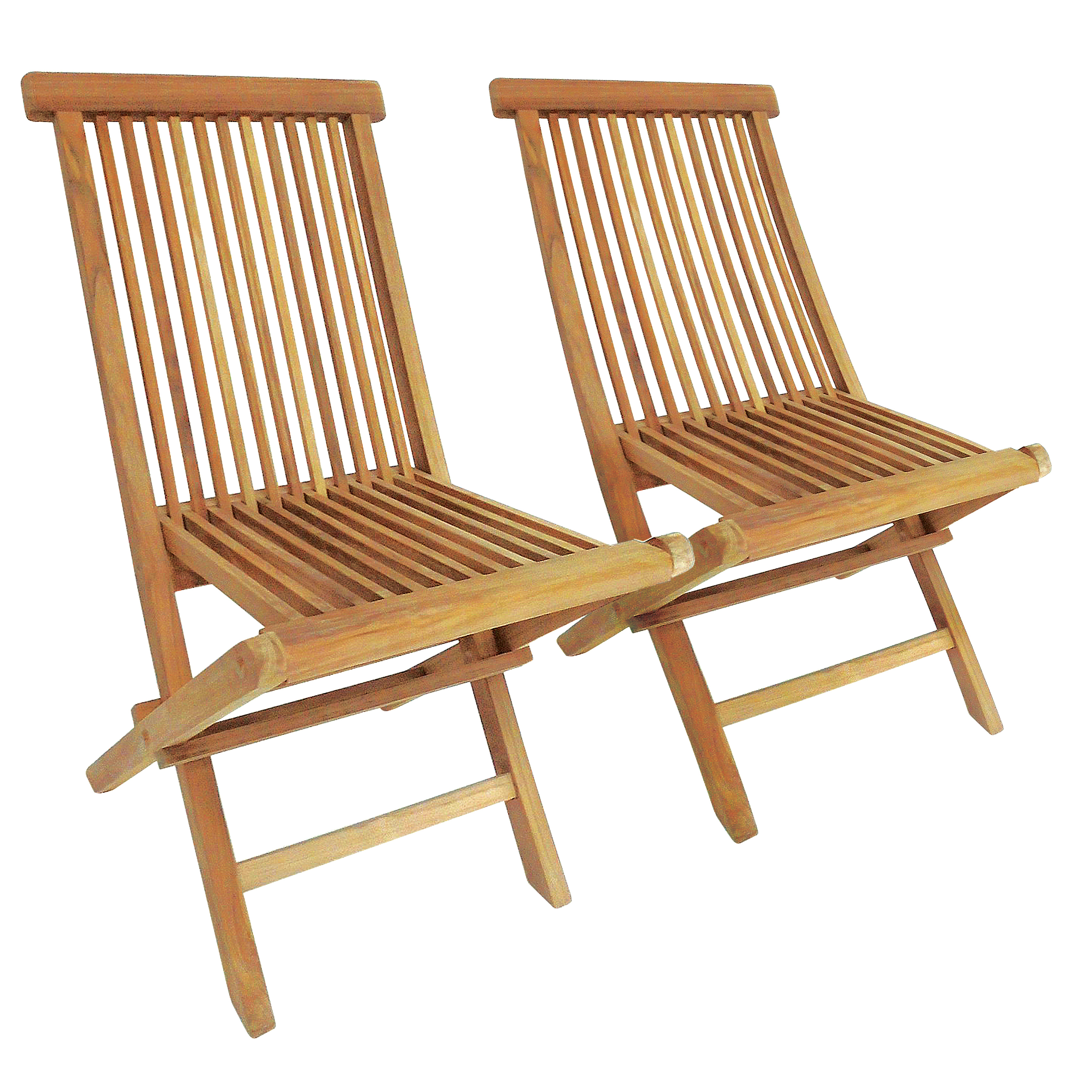 Charles Bentley Pair Of Solid Wooden Teak Outdoor Folding
