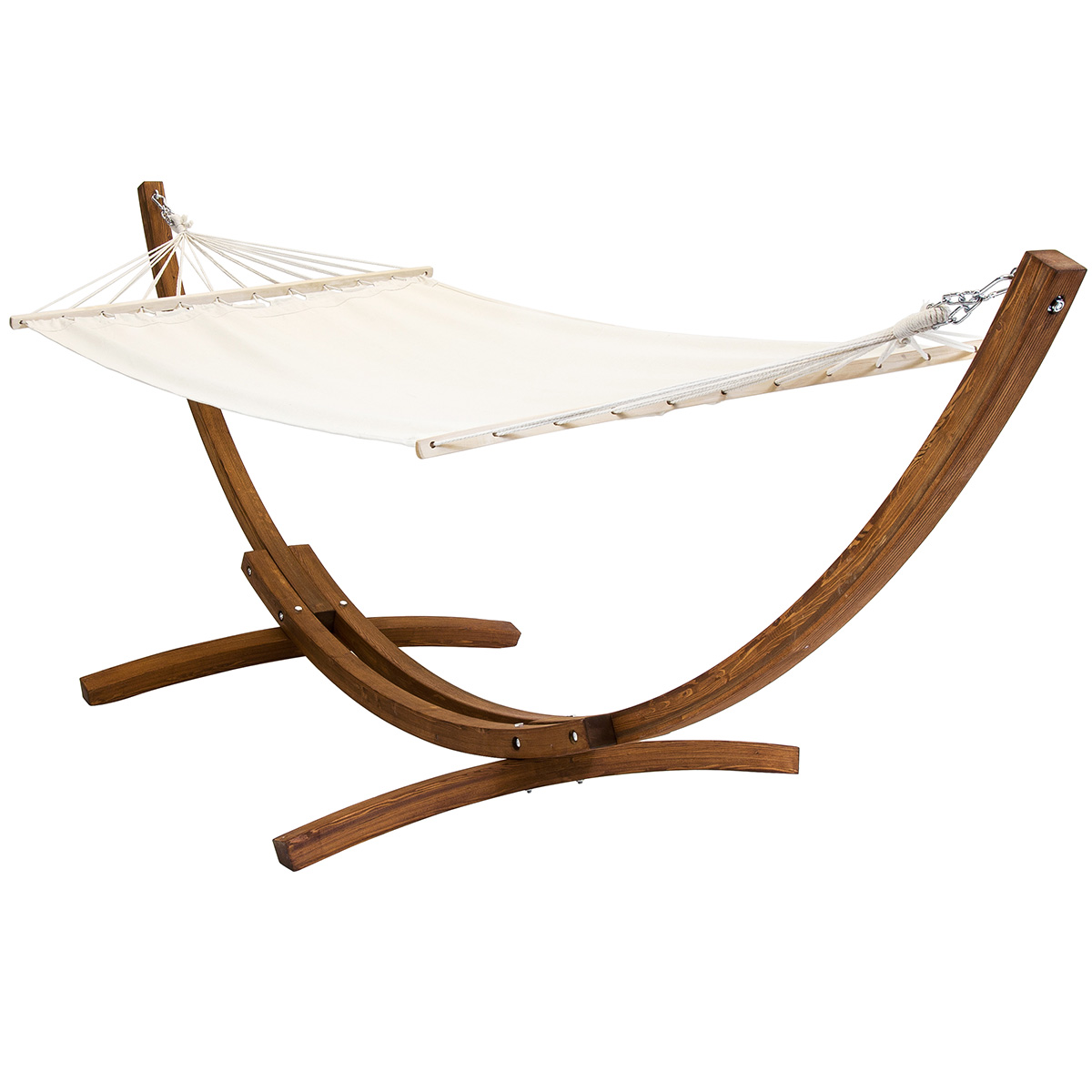 Free Standing Canvas Garden Hammock With Wooden Arc Stand