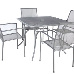 Metal Garden Table Chairs Heavy Duty Lawn Canada Charles Bentley Outdoor Mesh 5 Piece And