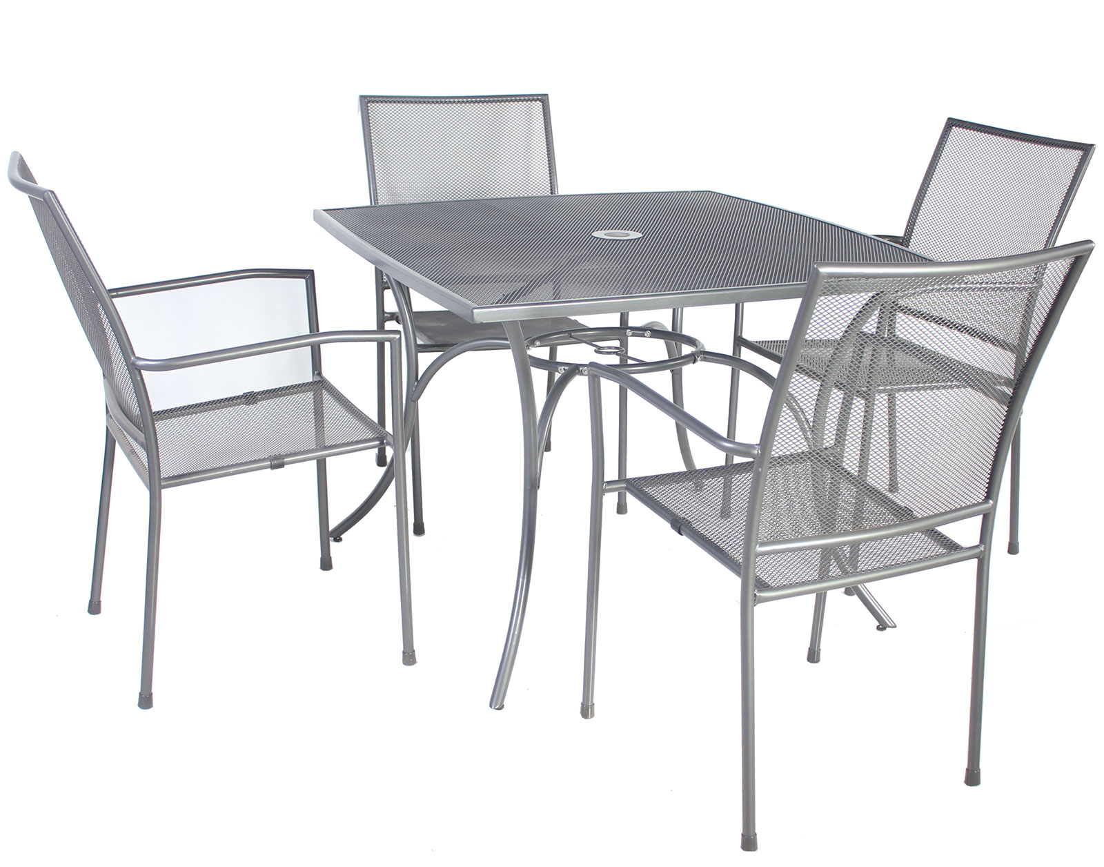 grey table and chairs white lounge chair nz charles bentley outdoor metal mesh 5 piece
