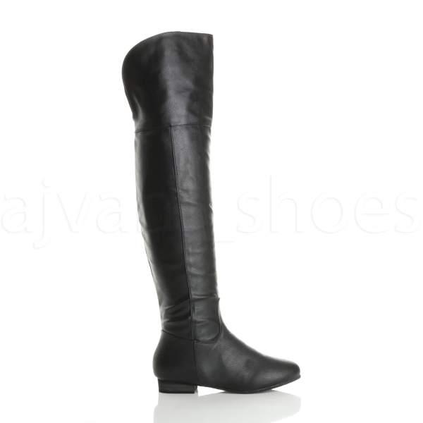 Womens Ladies Over Knee High Foldover Heel Zip Riding