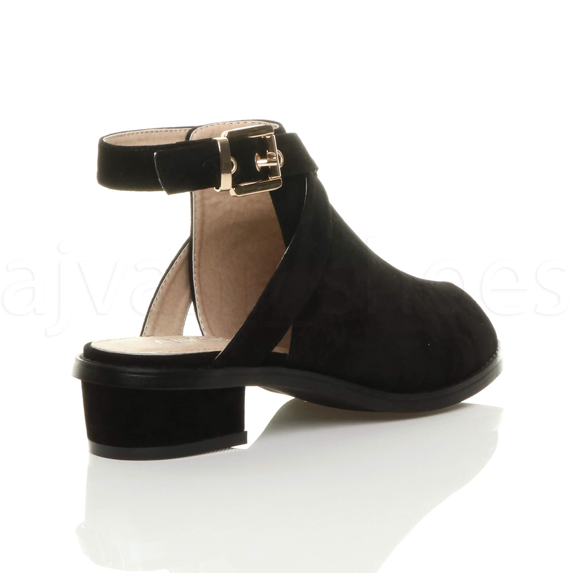 Femmes bas mi talon bloc peep toe boucle bottines chaussures sandales pointure | eBay