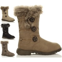 WOMENS LADIES GIRLS FLAT HIGH CALF KNEE QUILTED FUR LINED ...