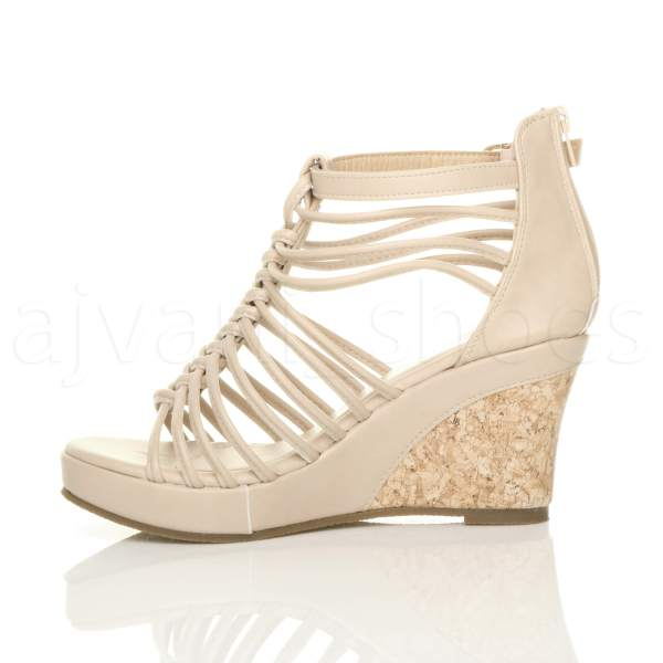 WOMENS LADIES STRAPPY GLADIATOR PLATFORM SUMMER HIGH HEEL