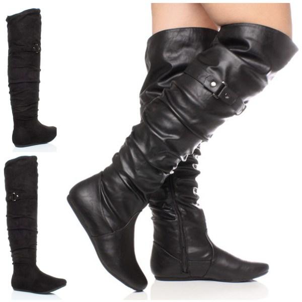 Womens Ladies Flat Black Over Knee Thigh Zip Buckle