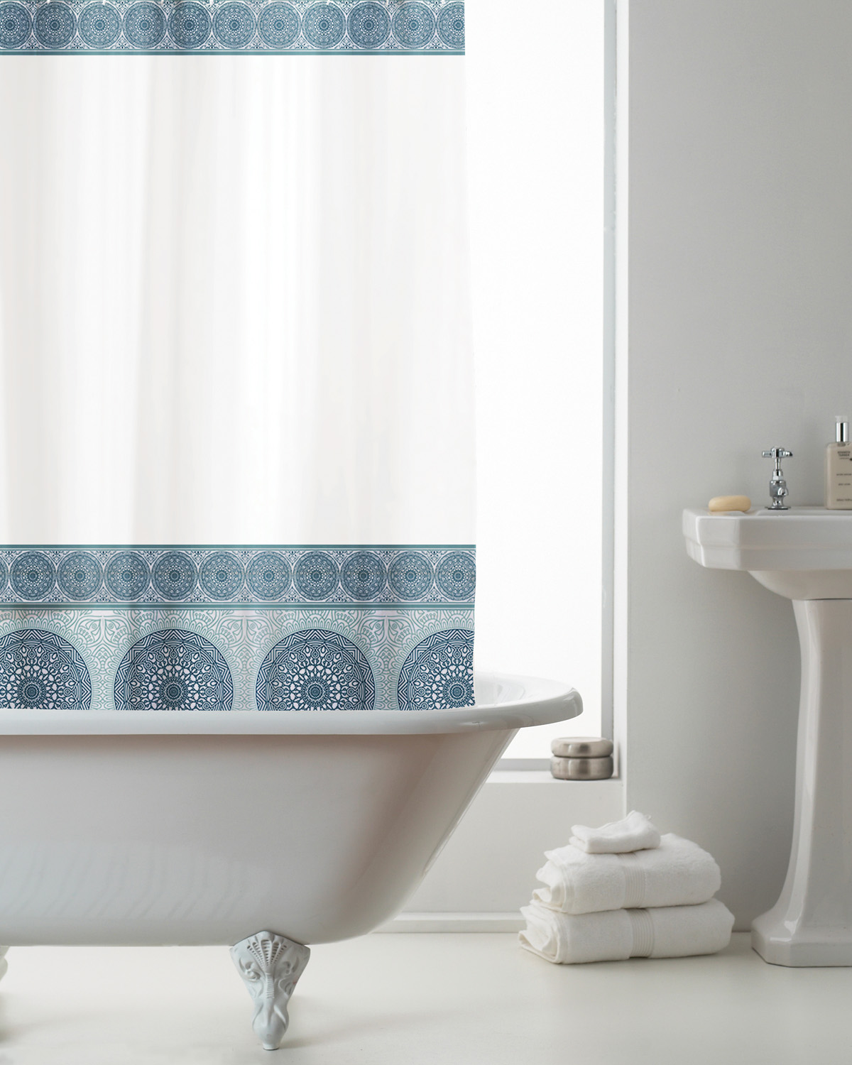 Blue Bathroom Accessories Details About Country Club Eva Shower Curtain Mandala Blue Bathroom Accessories Decoration