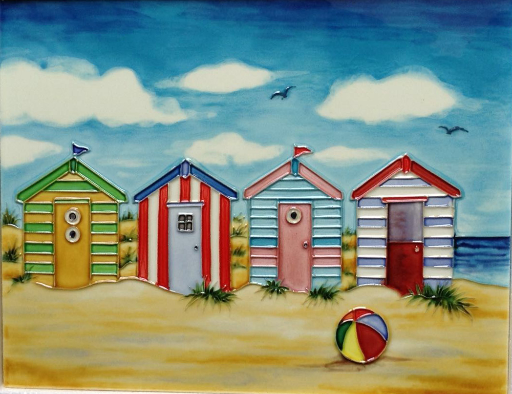 YH Art Summer Holidays Beach Hut Seaside Ceramic Wall Art