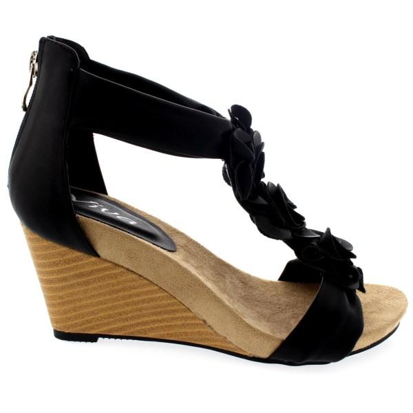 Womens Zipper Wedge Pumps Open Toe Summer Casual Ankle