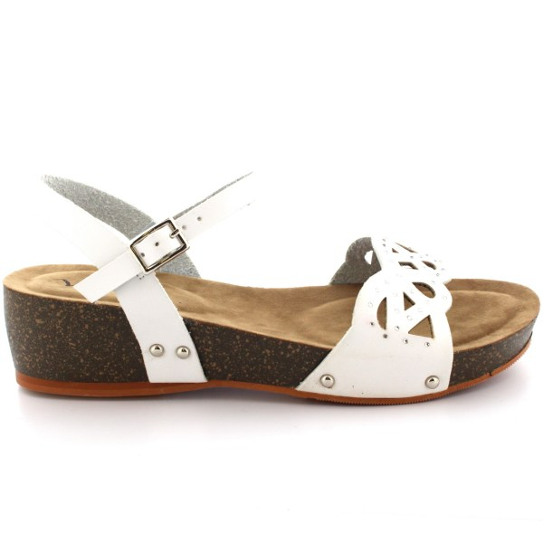 Womens Diamante Wooden Sole Summer Peep Toe Wedge Ankle