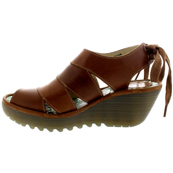 Womens Fly London Yown Rug Leather Vacation Peep Toe