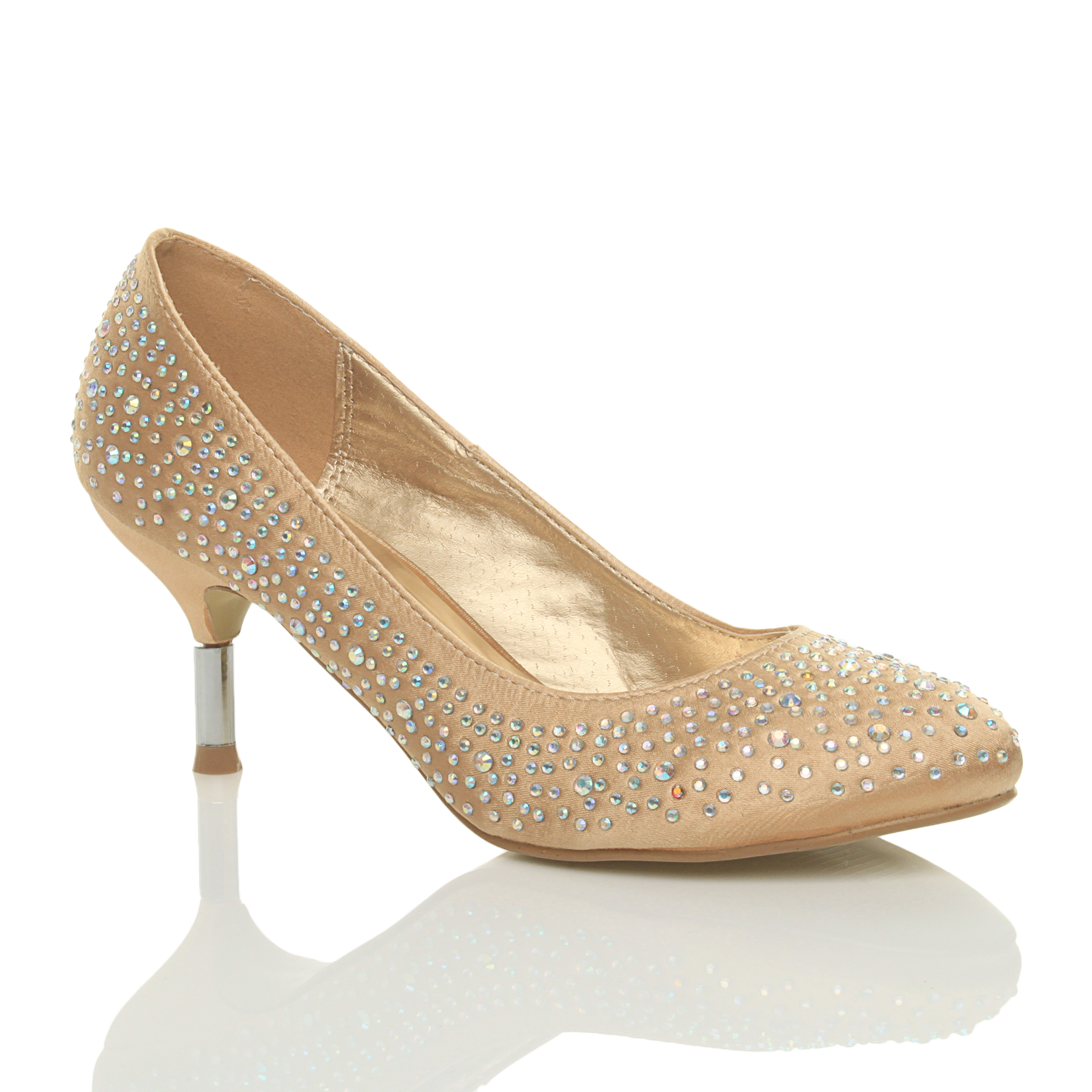 WOMENS LADIES MID LOW HEEL WEDDING PROM BRIDAL DIAMONTE COURT SHOES PUMPS SIZE  eBay