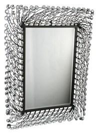 "Large Oblong Stemmed Crystal Metal Wall Art 25"" Mirror | eBay"