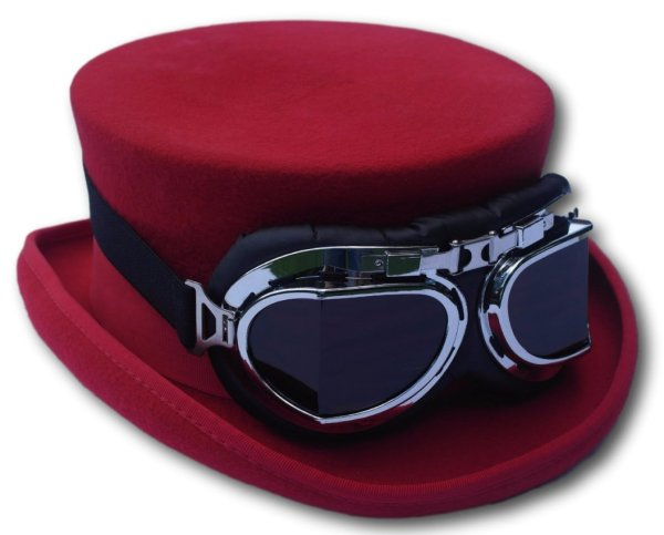 Steampunk Red Top Hat - Medium Approx 58 59cm
