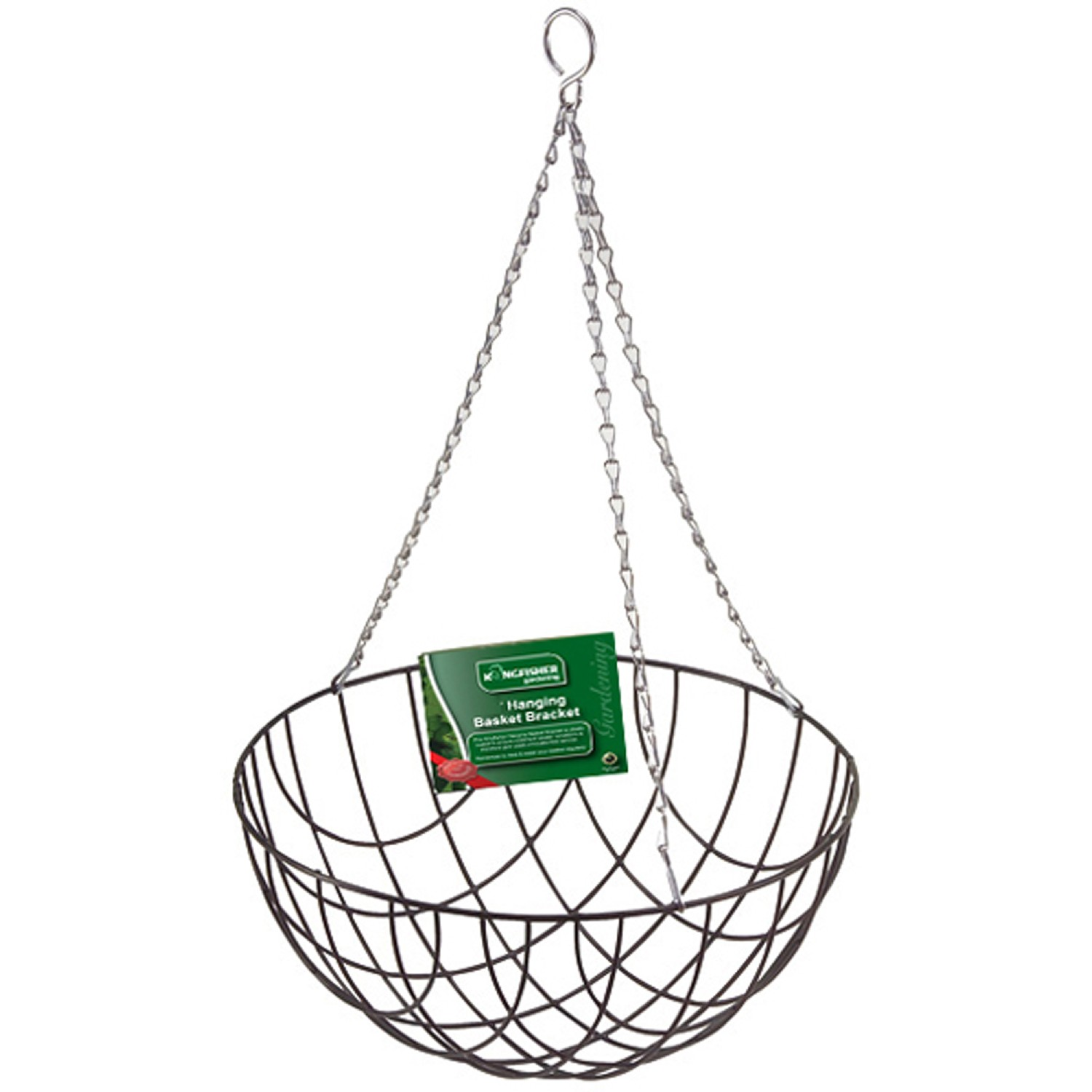 Kingfisher 12 Wire Hanging Basket Bracket Plant Home Decor Green With Chain New