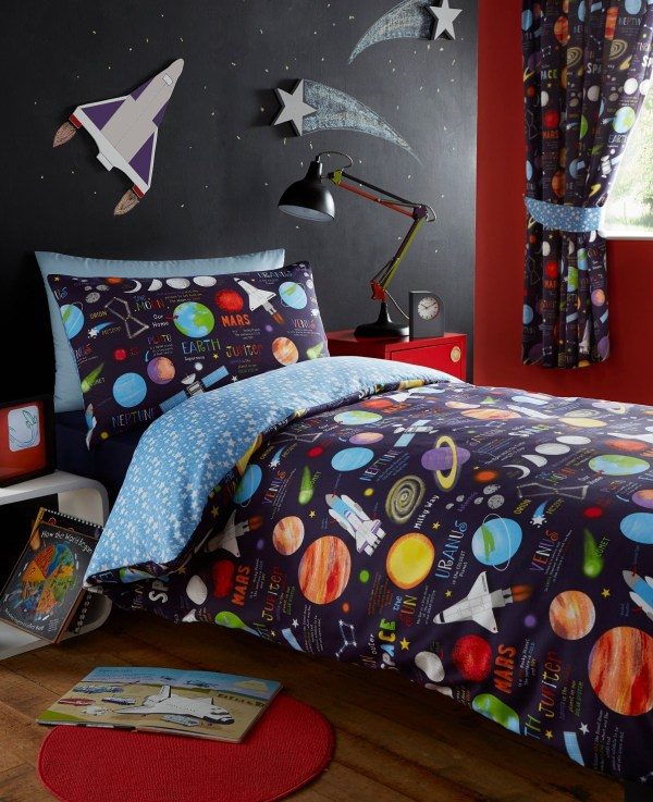 Planets Space Ship Rocket Solar System Reversible Duvet Quilt Cover Bedding Set